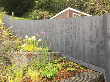 Feather edge timber fence painted with Cuprinol Garden Shades Urban Slate