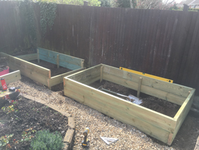 Construction of a pressure treated, tanalised, timber raised planting bed with Stabila spirit level